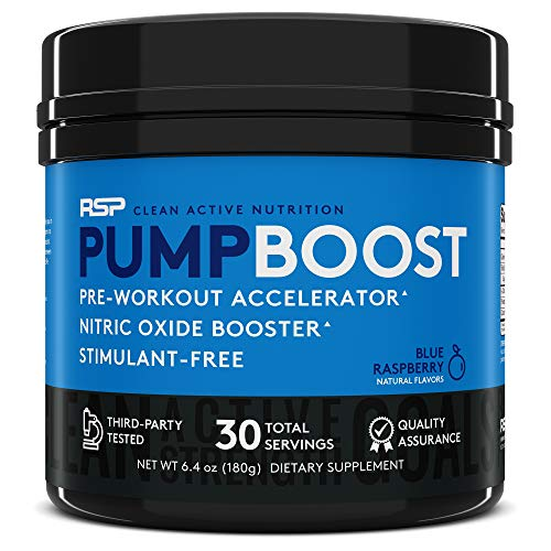 RSP Pump Boost - Stimulant Free Pre Workout & Nitric Oxide Booster, N.O. Boost for Enhanced Pumps, Energy Boost, and Improved Training Endurance, Blue Rasp (Packaging May Vary)