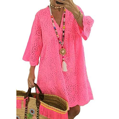 ORANDESIGNE Damen Sommerkleider Einfarbig Strandkleider Boho Kleider 3/4-Arm Casual A-Linie Kleid Strandponcho Bikini Cover Up Tunika Kleider Knielang B Rosa L
