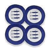 CARTAFFINI SRL Piatto Fondo, Decoro Blue Fish, in melamina - Ø 23,2 cm, H 3,8 cm - Set 4 Piatti - Colore: Blu/Bianco