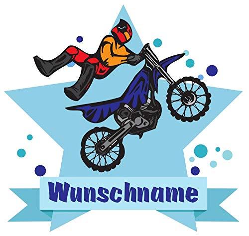 Samunshi® Motorrad Fahrer Aufkleber mit Namen Autoaufkleber Namensaufkleber Kinder in 7 Größen (15x13,1cm Mehrfarbig)
