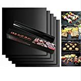 UNIVERSESTAR Grill Mat - Set of 5 Heavy Duty BBQ Grill Mats Non Stick, BBQ Grill & Baking Mats - Reusable, Easy to Clean Barbecue Grilling Accessorie