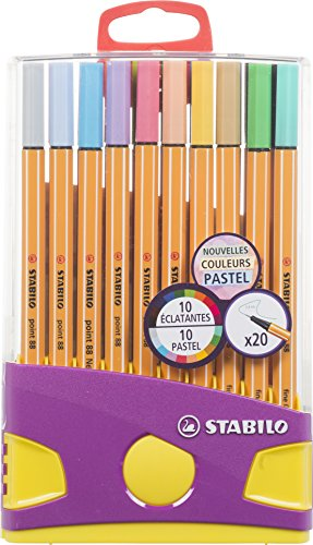 Stabilo Point – 20 rotuladores de colores surtidos, 10 de ellos color pastel