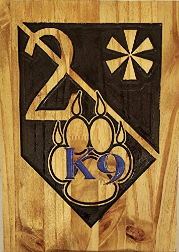 WOOD CARVED K9 2 ASTERISK PLAQUE- CUSTOMIZABLE