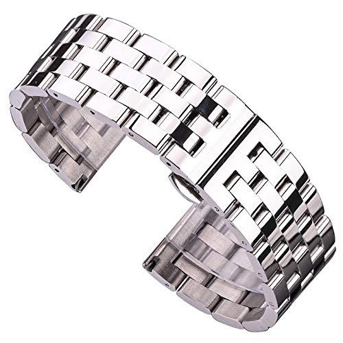 WNFYES Solide Metales Reloj Abnds Brazalete Plata Zwart De Oro Rosa De Mannen Vrouwen 316l Roestvrije Horloge Banda Correa 20mm 22mm 24mm 26mm Relojes Correas