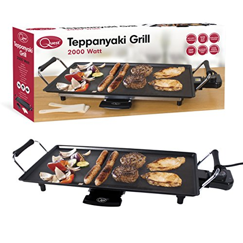 Quest 35490 Large Teppanyaki Grill Electric, 2000 W, Black