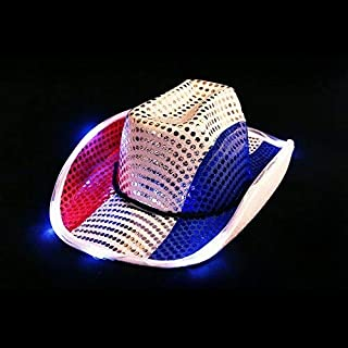 Fun Central LED Light Up Patriotic Cowboy Hat for Men & Women - 4th of July Cowboy Party Favor Supplies