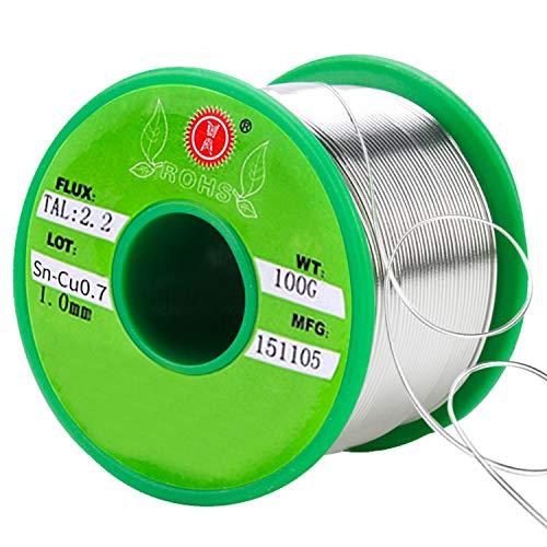 SANTOO Stagno per Saldatura 100g 1mm 97.3% Stagno, 2% Argento, 0.7% Rame, con 2,2% Flussante, Senza Piombo Filo di Microsaldature Saldature Saldare per Elettrica Saldature