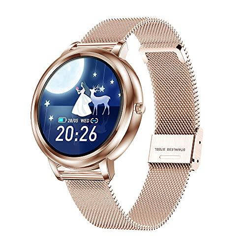 Reloj Inteligente con presión Arterial epóxica para Mujer, Resistente al Agua, Freno, Paso Deportivo, Salud, Dorado