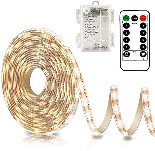 CCILAND LED Streifen Batteriebetrieben, 3 Meter 90 LED Batterie led Streifen für Deko Schneidbar,Selbstklebend,Fernbedienung,Timer,8 Modi,Dimmbar Warmweiß (Warmweiß)