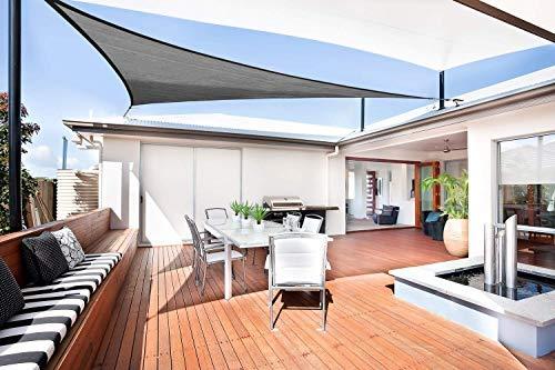 Sunnylaxx Vela de Sombra Triangular 5 x 5 x 7,1 Metros, toldo Resistente y Transpirable, para Exteriores, jardín, Color Grafito