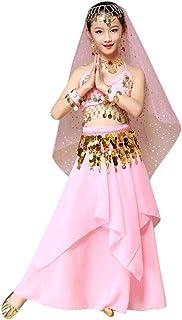 幸運な太陽 女の子 キッズ ガールズ ベリー ダンス コスチューム インドダンス用 衣装 トップ+スカート 出産祝い お宮参り 入園式 撮影用 七五三 ハロウィン 誕生日 プレゼント
