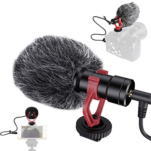 JASZW Kondensatormikrofon, Camcorder, kompaktes Nierenmikrofon für DSLR-Kameras, Video- und Audioaufzeichnung, iOS Android Smartphone, für Vlogger, Facebook
