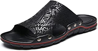 Sumuzhe Cool and comfortable Men's Microfiber Leather Casual Slippers Fashion Lightweight Comfortable Summer Beach Shoes Anti-slip Flat Round Open Toe Slip-on Summer must