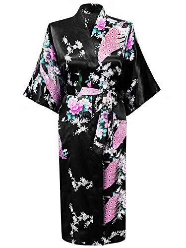Westkun Kimono Japones Mujer Albornoz Vestido de Satén Pavo Real Novia Pijamas Largo Sexy y Elegante de Seda Bata Camisón Robe Lencería Cardigan(Negro,S)