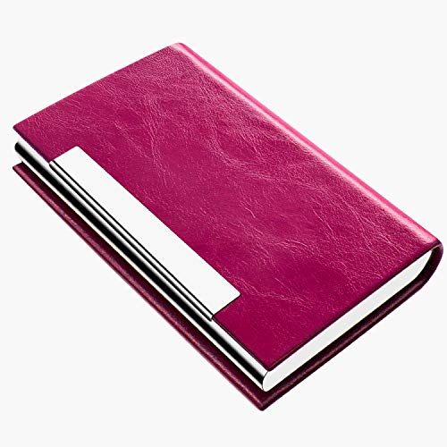 Business Card Holder, Business Card Case Luxury PU Leather & Stainless Steel Multi Card Case,Business Card Holder Wallet Credit Card ID Case/Holder for Men & Women. (V-Rose red)…