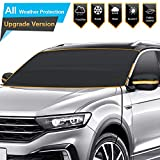 Windshield Snow Cover for Winter, Sunshade Cover for Summer, Double Side Designed, Waterproof for Ice, Snow, Frost, UV Protection, Large Size Fits for Small Cars, SUV