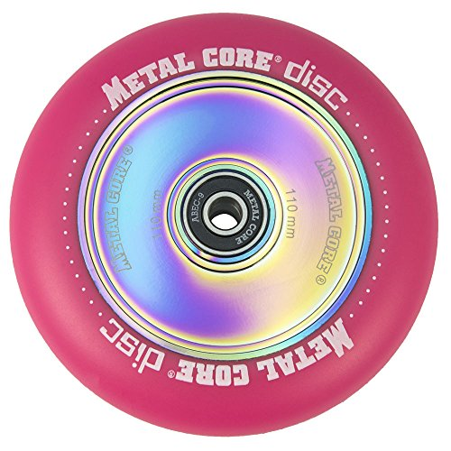 Metal Core Rueda Disc para Scooter Freestyle, Diámetro 110 mm (Rosa)