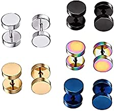 Stainless Steel Mens Womens Stud Earrings Set Ear Piercing Plugs Tunnel Punk Style (1 Set-5 Pairs)