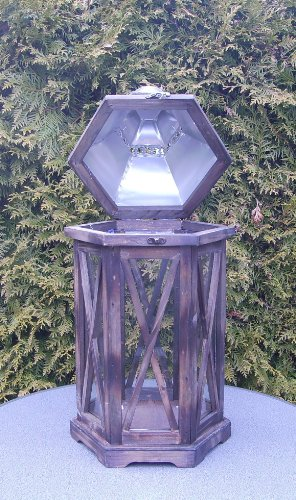 Decorativa Seis–Farol de madera en color marrón con plata Cúpula techo 40,5cm 10134