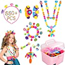 550Pcs Pop Beads - DIY Jewelry Making Kit for Toddlers 4, 5, 6, 7 ,8 Year Old, Kids Pop Snap Beads Set to Make Hairband, Necklaces, Bracelets, Rings and Art & Crafts Creativity Toys for Girls Boys