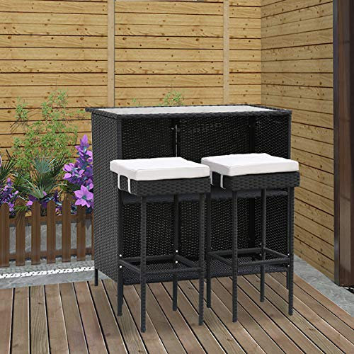 Hironpal Rattan Bar Set Wicker Weave Garden Furniture Bistro Set 3 Rattan Table and Chair Stool Glass Top with Cushion for Patio Outdoor Conservatory Grey Black