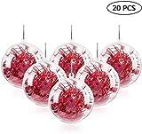 Mbuynow 20pcs Boules de Noël Transparente à Remplir 10cm Boule de Décoration en Plastique pour Déco Décoration de Noël Fête Mariage Anniversaire et Décoration Personnalisable de Sapin de Noël etc