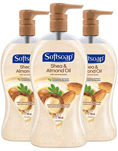 Softsoap Moisturizing Body Wash Pump, Shea and Almond Oil - 32 Fluid Ounce (3 Pack)