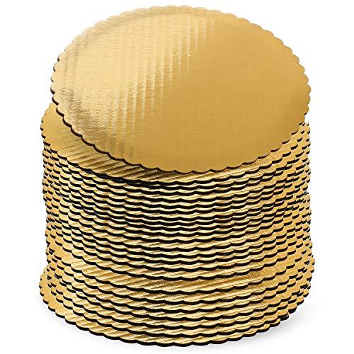 Tablas redondas de 30,5 cm, color dorado, paquete de 24, base para tartas, cartón circular de 30,48 cm, tablas desechables redondas de...