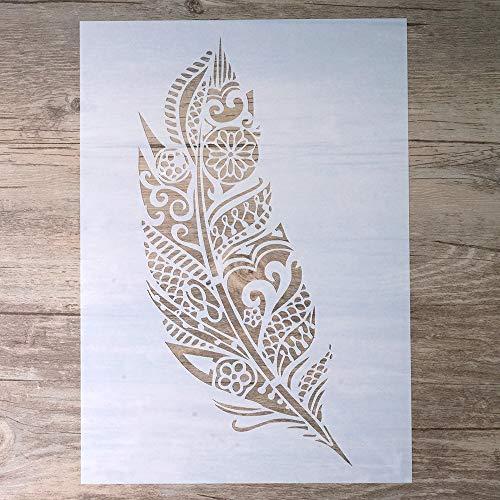 DIY Dekorative Mandala-Feder-Schablone für Scrapbooking, Malerei, Wände, Möbel, Handwerk A3 Size