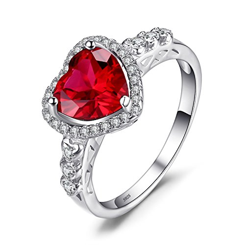 JewelryPalace Heart Of Ocean Forever Love Heart Halo Promise Ring for her, Anniversary White Gold Plated 925 Sterling Silver Rings for Women, Red Created Ruby Rings, Girls Womens Jewellery Gifts