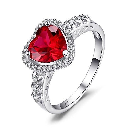 JewelryPalace Cuore Of Ocean 2.7ct Sintetico Rosso Rubino Amore Eterno Halo Promessa Anello 925 Sterling Argento 14.5