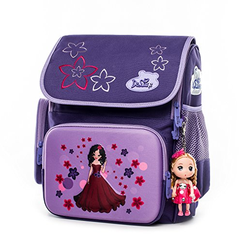 Delune Primary School Backpack for Girls with Lovely Cartoon Doll Princess Printing Water-resistant Elementary School Bookbag for Kids Pupils