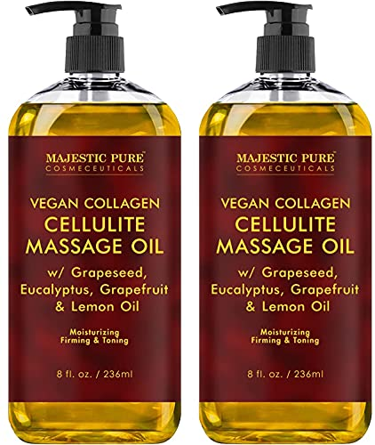 MAJESTIC PURE Cellulite Massage Oil - with Vegan Collagen & Stem Cells, Unique Blend of Massage Essential Oils - Anti Cellulite Oil Improves Skin Tightening and Firming, 2 x 8 fl oz