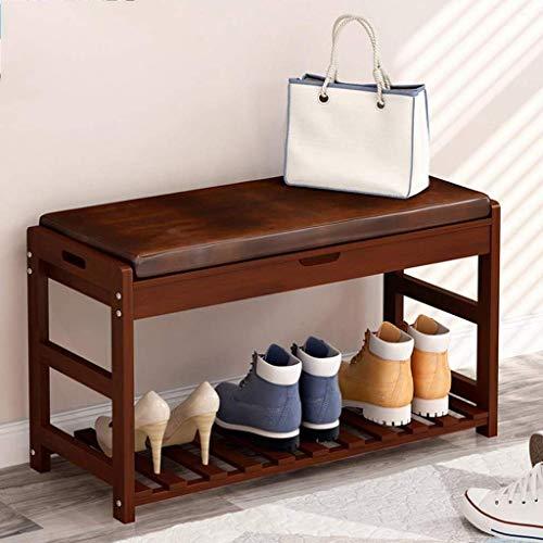 ZXL Meubels schoenenrek, houten schoen bank opslagrek schoenenkast met zitkussen voor de gang slaapkamer 73,5 * 30 * 45 cm (kleur: E)