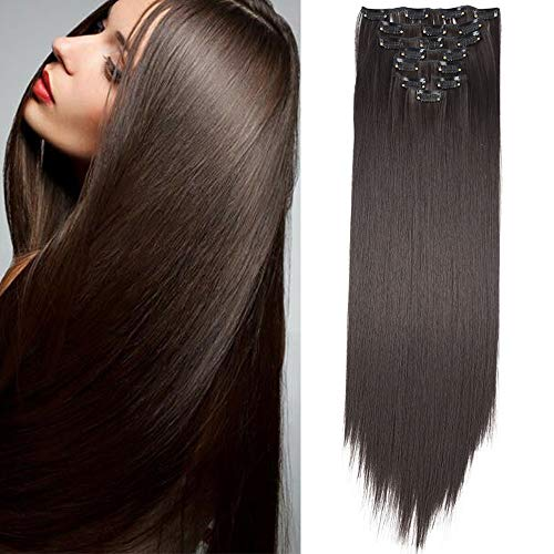 Extension a Clip Cheveux Naturel Lisse Extensions Cheveux Synthétique Clips 8 Bands Clip in Hair Extension Postiche Longue (Marron foncé)