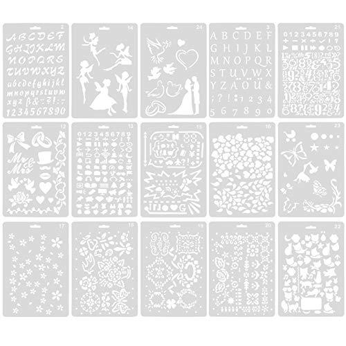 Chstarina 15 Pezzi Stencil Pittura per Bambini Templates Riutilizzabili Stencil di Plastica Stencil di Natalizi Animale Letttra Stampini da Disegno per Arti e Mestieri Carte Fai da Te Scrapbooking