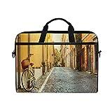 VICAFUCI Nuevo Bolso para portátil de 15-15.4 Pulgadas,Wanderlust Street en Roma Italia Viajes en Bicicleta Destinos de Luna de Miel Luces del Sol Día Soleado Imprimir