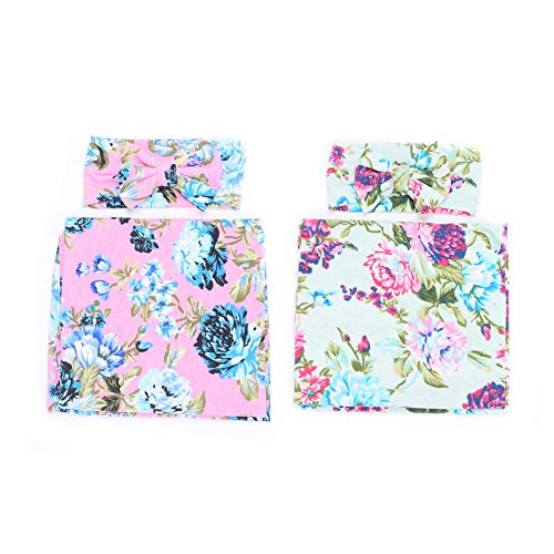 Galabloomer Newborn Receiving Blanket Headband Set Flower Print Baby Swaddle Receiving Blankets (Blue Pink Rose Pack Two)
