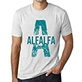 Herren Tee Männer Vintage T-Shirt Letter A Countries and Cities Alfalfa Weiß Gesprenkelt