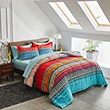 FlySheep Bed in a Bag 7 Pieces Queen Size, Colorful Bohemian Style Tribal Blue n Red Printed, Reversible Bed Comforter Set (1 Comforter, 1 Flat Sheet, 1 Fitted Sheet, 2 Pillow Shams, 2 Pillowcases)