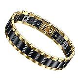 Flongo Pulseras de la Salud para Hombre Magnéticos Elegante del Oro Negro con Piedras Magnéticas...