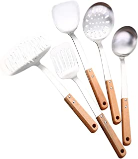 Bestomz 5pcs Cooking Utensil Kit Stainless Steel Wooden Handle Kitchenware Set Colander Spatula Slotted Turner Spatula Spo...