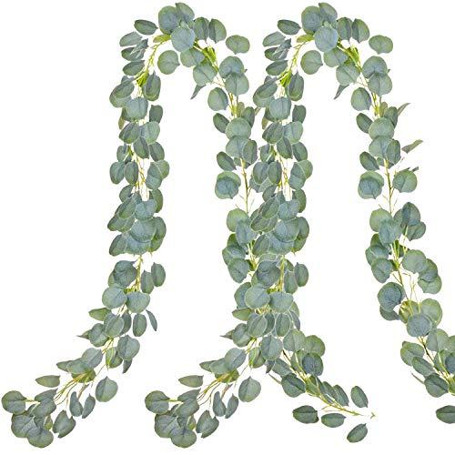 Aibesser Efeu Künstlich, Kunstpflanze Balkon Dekoration Vintage Plastik Pflanze 2 Stück Grün Efeu mit Nylon Kabelbinder Pflanzen Efeuranke für Garten Hochzeit Party Wanddekoration (12 * 2.2M)