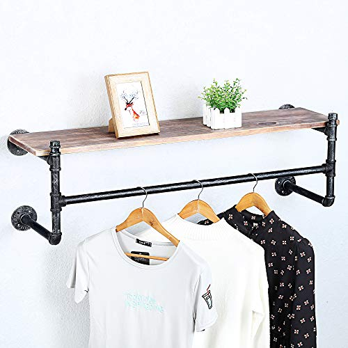 Industrial Pipe Clothing Rack Wall Mounted Real Wood ShelfPipe Shelving Floating Shelves Wall ShelfRustic Retail Garment Rack Display Rack Cloths RackSteamPunk Commercial Clothes Racks1 Tier42in