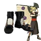 WSJDE Anime Naruto Shippuden Nara Temari Cosplay Shoes Unisex Black Short Boots Custom-Made 41 Female Size