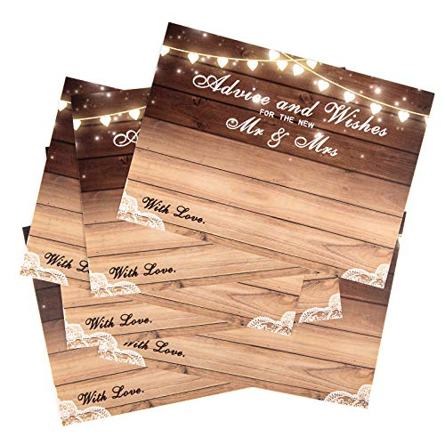 "WUWEOT 100 Pack Wedding Advice and Wishes Cards, Rustic Wedding Well Wishes Cards Guest Book Alternative, Bridal Shower Games Note Card Marriage Best Advice Bride To Be or For Mr & Mrs, 6"" x 4.3"""