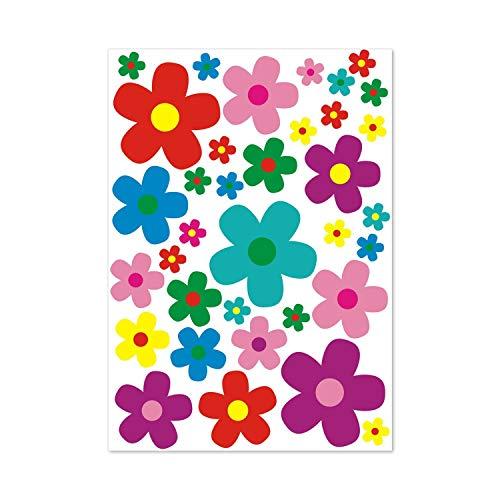younikat Aufkleber-Set Blumen 35 Blümchen I Mehrfarbig bunt I Flower-Power Sticker für Roller Fahrrad Notebook Laptop Handy Auto-Aufkleber I wetterfest I kfz_156