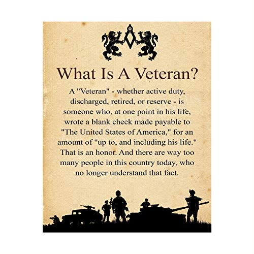 'What Is A Veteran'-Patriotic Wall Art Sign -8 x 10' USA Military Silhouette Poster Print- Ready to Frame. Perfect Decor for Home-Office-Shop-Restaurants. Show Your Gratitude For Our Veterans.