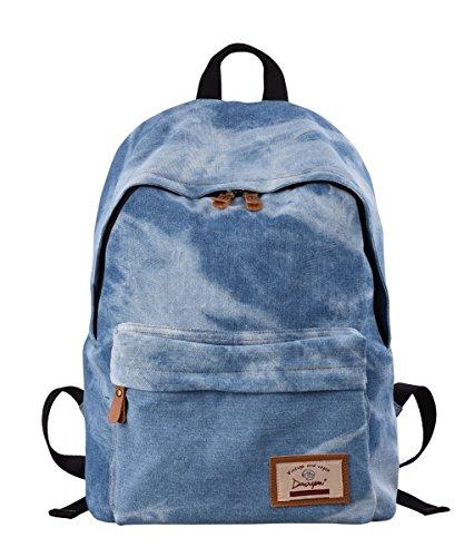 Douguyan Freizeitrucksack Canvas Schule Daypack Hand Rucksack Notebook Damen Backpack Girls School Travel Bag Kinder Vintage Women Reiserucksack Segeltuch Studenten Rucksack mit Muster 320 Denim