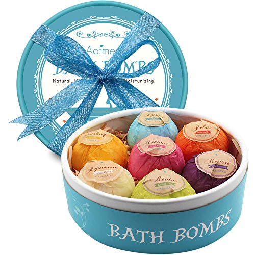 Aofmee Bath Bombs Gift Set, 7pcs Fizzies Spa Kit Perfect for Moisturizing...